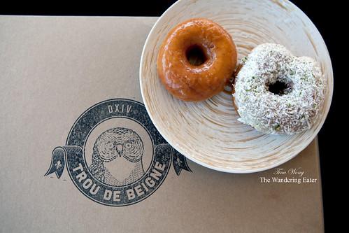 Trou de Beigne Doughnuts: Salted Caramel Glaze, Coconut Lime
