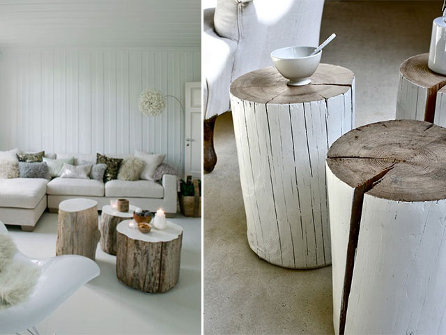 Diy home inspo tree stump coffee tables a pair a spare for Wood stump end table