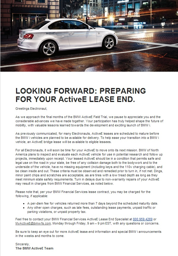 BMW Active E Lease End Prep email