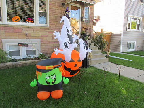 An inflatable Halowween front lawn display.  Elmwood Park Illinois.  October 2013. by Eddie from Chicago