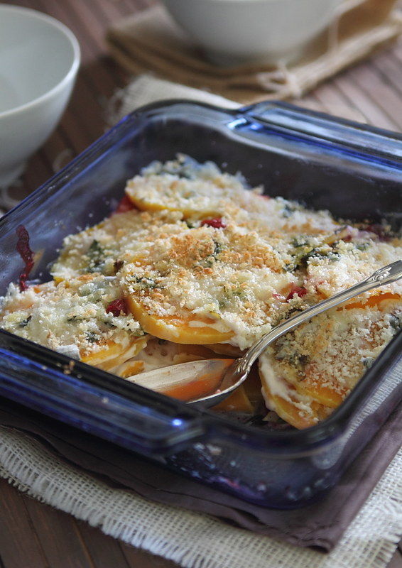 Butternut Squash and Cranberry Gratin | runningtothekitchen.com