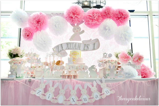 bunny themed dessert spread