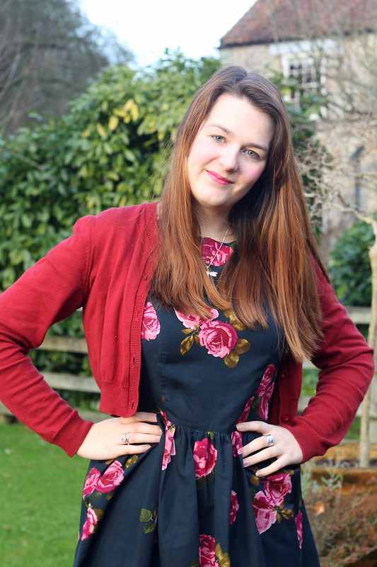 uk fashion blog, floral dress, cardigan, heels