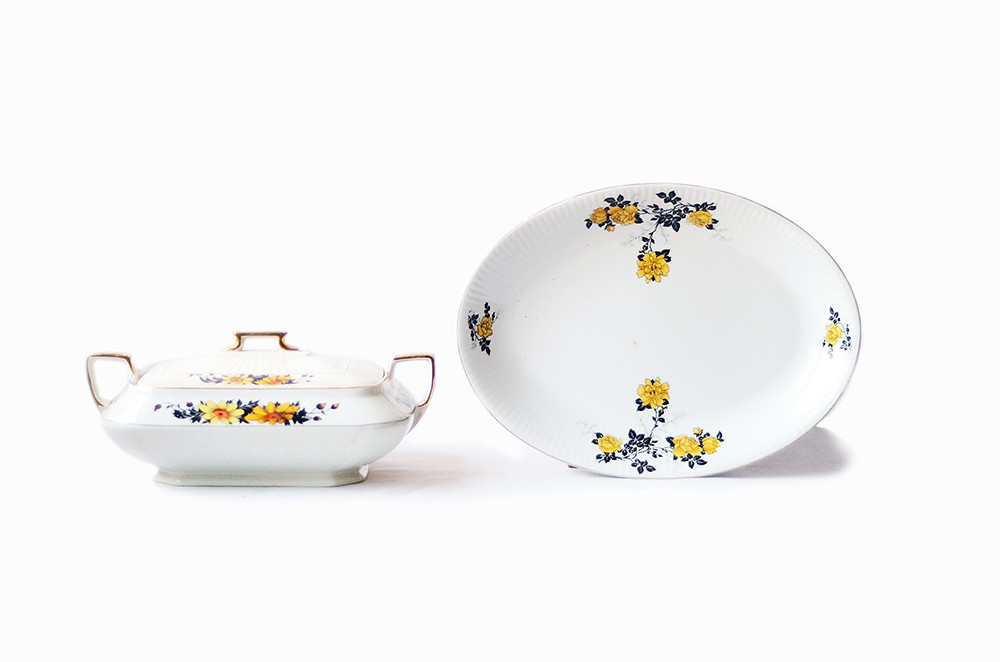 Two Vintage Serving Dishes in Yellow and Black Daisy and Rose Patterns