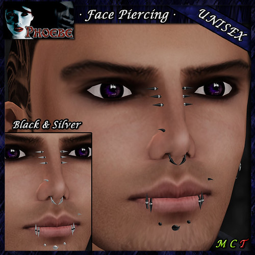 [OFFER!] *P* Unisex Face Piercing ~ Claws 2 ~ Black & Silver 2