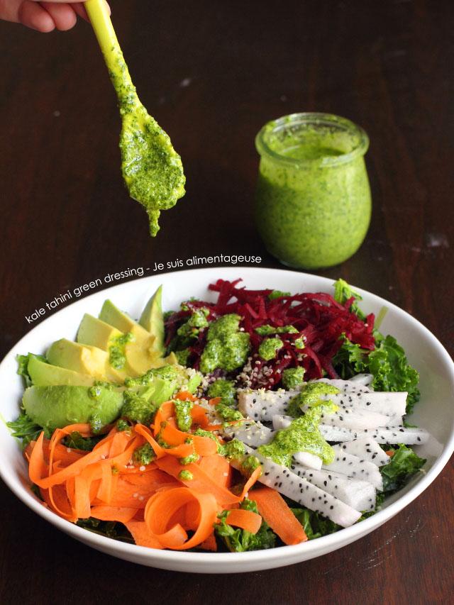 Kale Tahini Green Dressing | Green Food for St. Patricks! | Je suis alimentageuse #vegan #glutenfree #kale #green