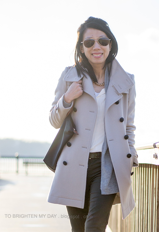 wool trench coat, gray open cardigan, pleated blouse, olive pants