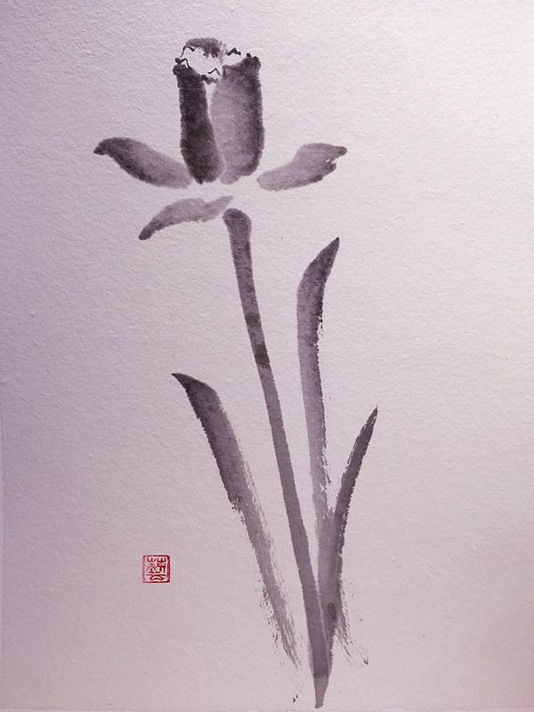 daffodil sumi-e