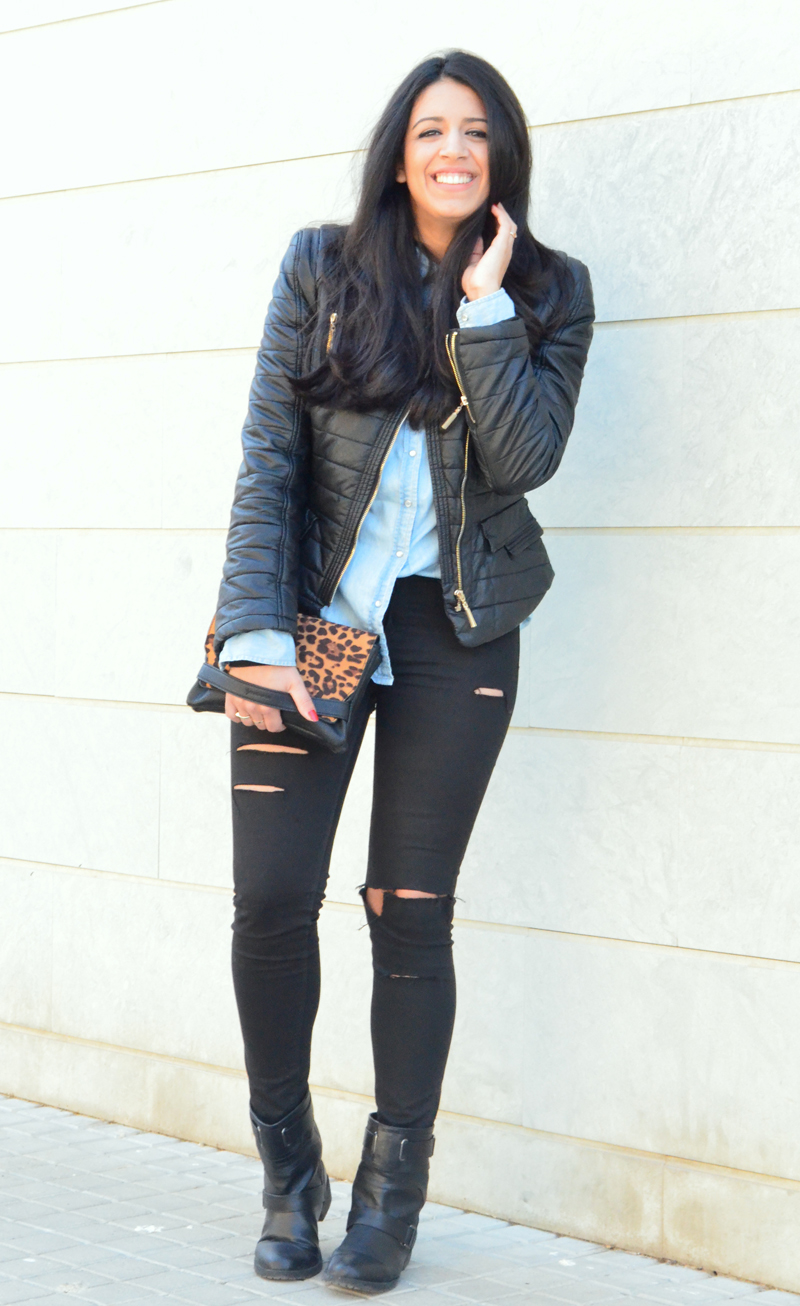 florenciablog look rocker broken jeans inspiration leopard clutch stradivarius how to wear broken jeans (7)