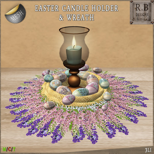 NEW ON SALE ! *RnB* Mesh Easter Candle Holder & Wreath