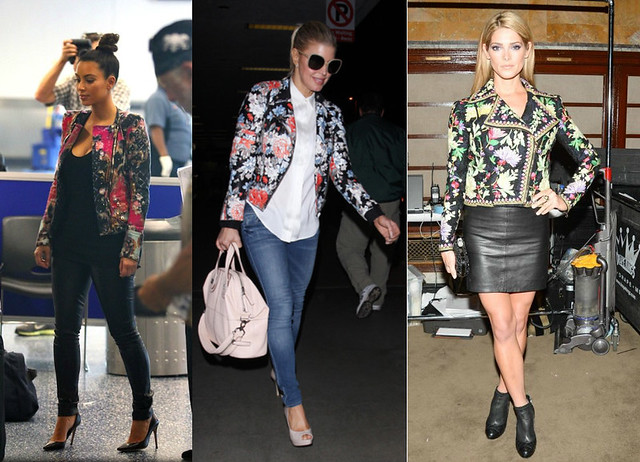 floral trend biker jackets, New York City Sachin and Babi Josefina floral leather jacket, Jimmy Choo Dash Studded biker boots, Miu Miu tassel loafers, bicolour Madras handbag, black leather trousers, Celine sunglasses, colorful floral embroidered Marchesa Voyage biker jacket