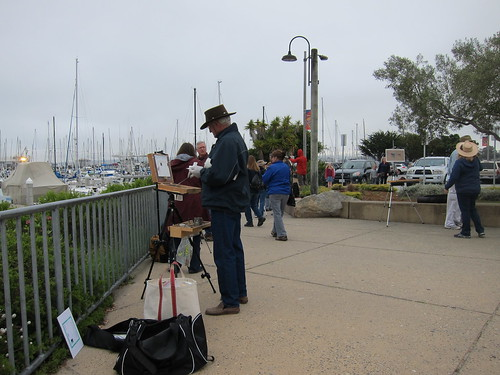 Plein air painters at Fisherman's Wharf, Monterey, CA