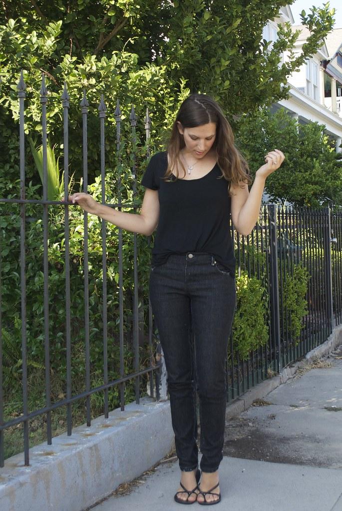 Mood Fabrics Black distressed denim and black jersey tee