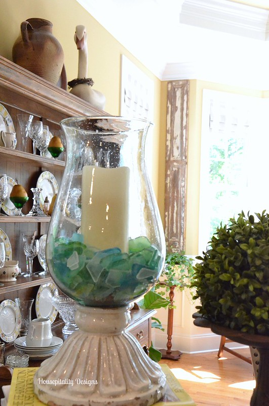 Hurrican candle holder with sea glass-Housepitality Designs