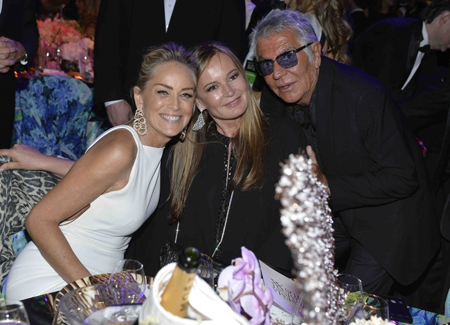 2 Sharon Stone, Roberto Cavalli and Eva Cavalli@amfAR Gala 2013 in Cannes 2013-05-23