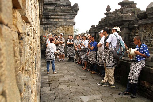 tour group at Borobudur