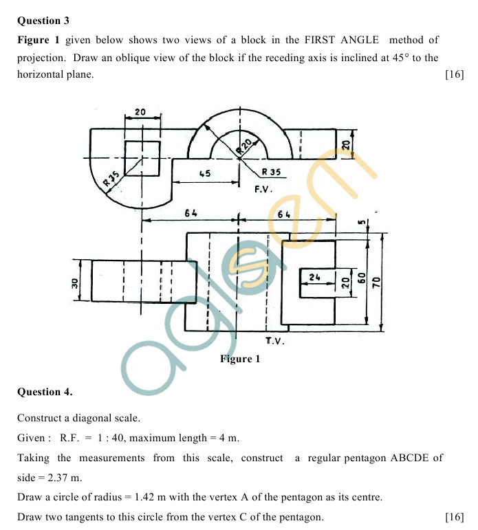 ICSE Class 10 Technical Drawing Applications Sample Paper