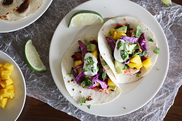 blackened salmon + mango tacos