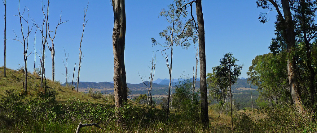 Views into the Bremer Valley and onto Mt Barney and Mt Maroon from the Little Liverpool Range
