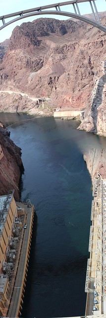 View down Colorado River from Hoover Dam
