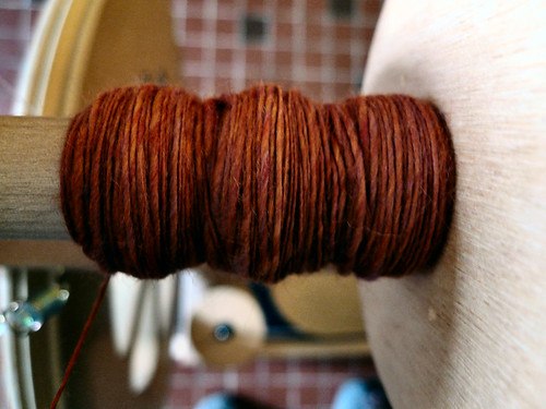 first spinning from orange carded fibre