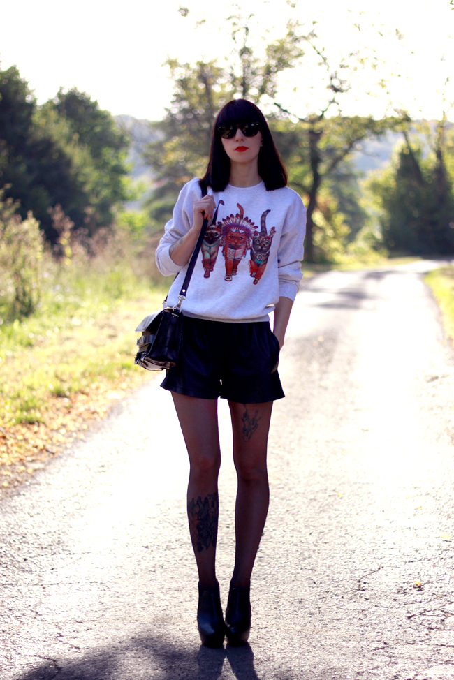 CATS & DOGS fashion blog Berlin sweatshirt cats leather shorts outfit look 9