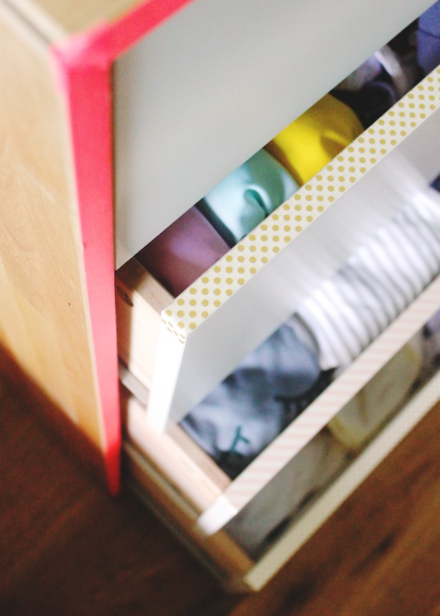 Washi tape trim on dresser drawers