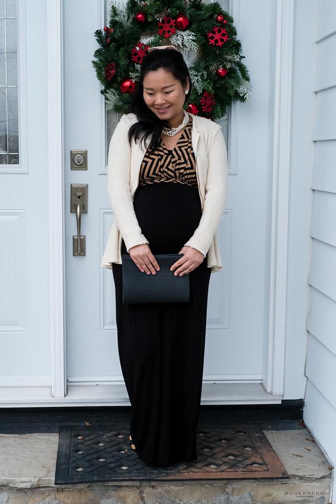 PinkBlush Maternity Chevron maxi, Zara cream peplum jacket