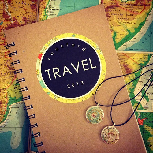 Robayre Travel Journal and Stratum Necklaces with vintage atlas pages