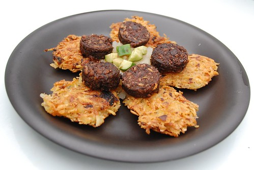 latkes with vegan black pudding