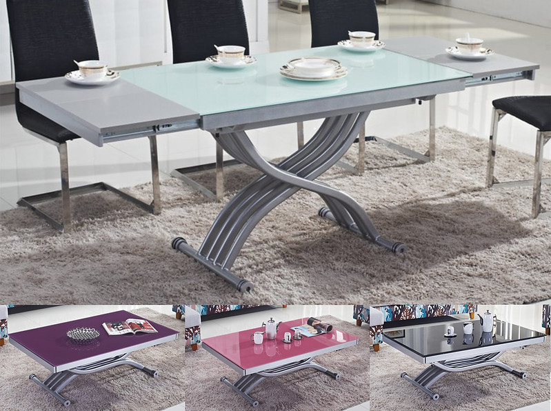 Table basse relevable transformable rita verre neuf - Table basse transformable en table a manger ...