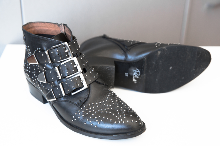 Blink Black Leather Studded Buckle Ankle Boots