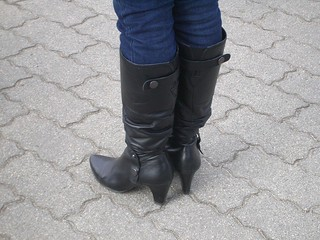 high heel under knee boots