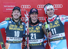 Guay is all smiles atop the podium in ValGardena, ITA