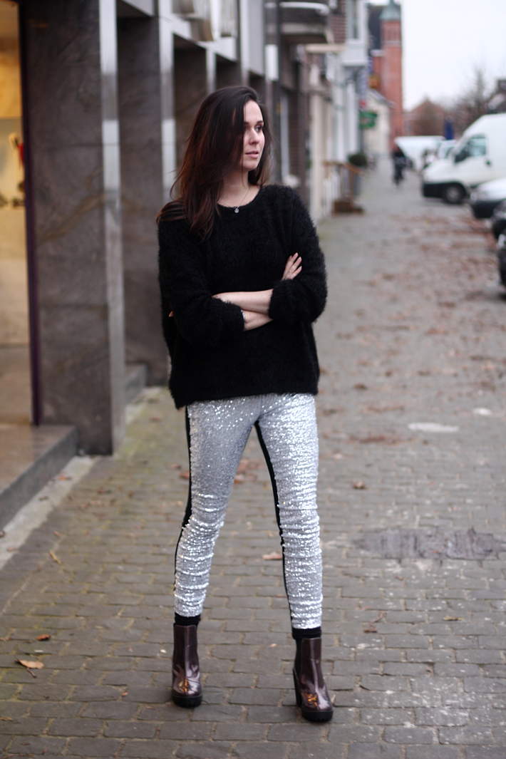 Fluffy Sweater, Sequined Leggings