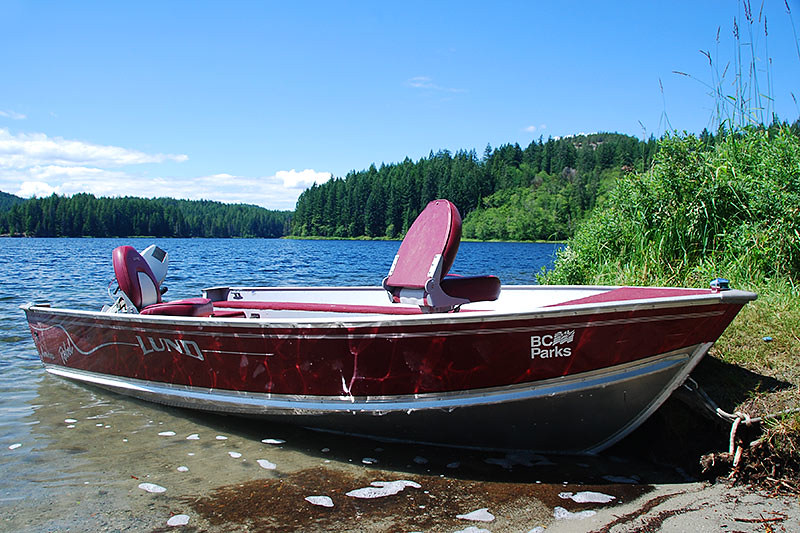 BC Parks Ranger Boat, Main Lake Provincial Park, Quadra Island, Discovery Islands, British Columbia, Canada