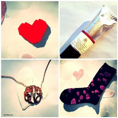 Valentines Day Gift Guide Featuring a DIY Lego heart pin Panpuri hand cream A rose gold monogram necklace by The Purple Mermaid and Gold Toe lacy rose socks