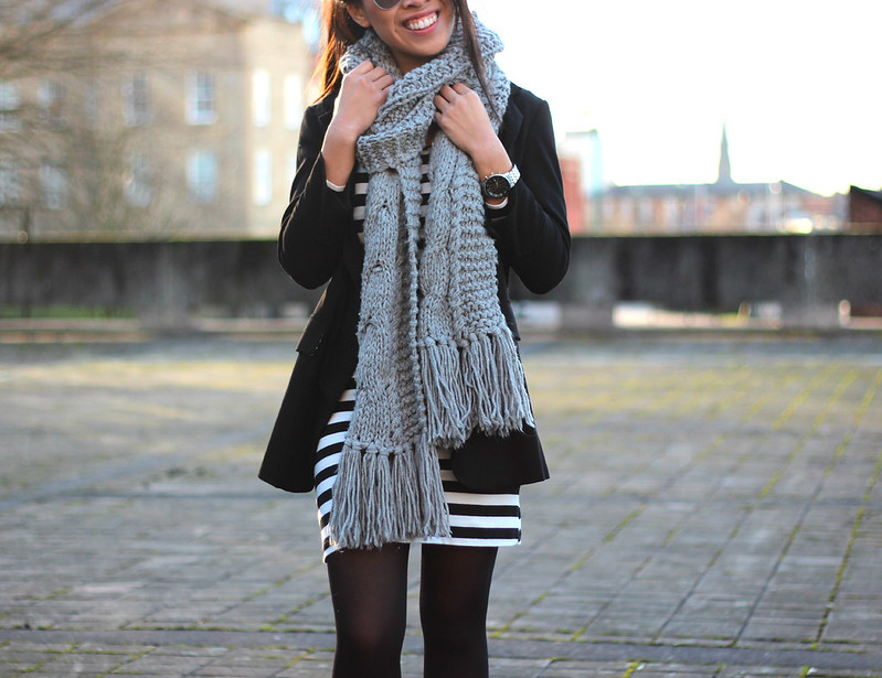 Article 21 Fashion & Style, Primark Striped T-shirt dress, breton striped bodycon dress, striped smock dress, grey topshop scarf, chunky grey knitted scarf, uk fashion blogger, top uk blogs, best uk fashion blogs, british fashion blogs, uk chinese blogger, manchester fashion blogger