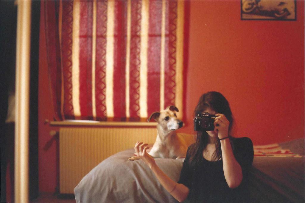 Self and dog. Fujicolor Superia 200