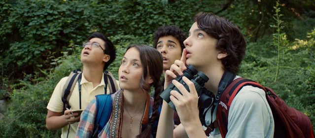 (L-R) Michael Chen, Katie Chang, Alex Wolff, and Kodi Smit-McPhee are all on a nerdy field trip in A BIRDER'S GUIDE TO EVERYTHING.