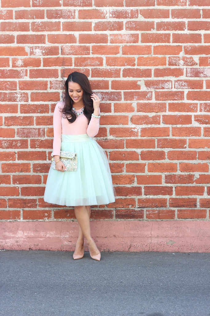 Mint Tulle Skirt and Blush Tee-9