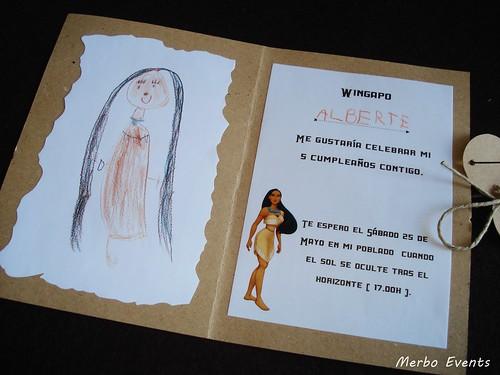 Detalle Invitacion Cumpleaños Pocahontas Merbo Events