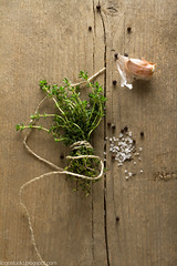 Spices (garlic, thyme, see salt, black peppercorns…