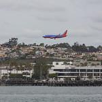 Plane landing over San Diego