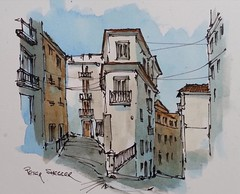 """Lisbon Street scene"" Line and wash Watercolor. Lisbon Portugal. New YouTube Video."