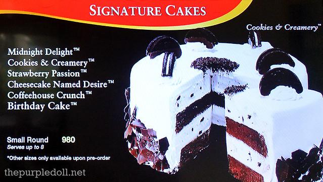 Cold Stone Creamery Serendra Menu Signature Cakes