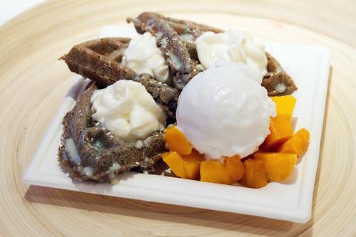 Black sesame waffle
