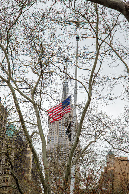 The Empire State Building seen through the trees in New York City HDR