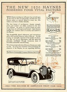 1920 Haynes automobile ad