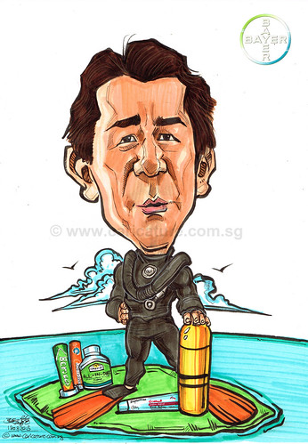 diver caricature for Bayer